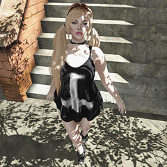 Unholy (Apple aka Ossia) Tags: salem event momento mori catwa pink fuel oleander song amala lucid essenz pretyt pretty avatar unholy cross black white shadows second life blogger blonde freckles mesh head fun sexy cleavage boobs legs detailed blog