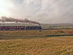 "LMS Jubilee Class 6P 4-6-0 No 45690 Leander in charge of ""The Cumbrian Coast Express climbing Shap at Scot Green (penlea1954) Tags: cumbrian coast route carnforth wcml west mainline lms jubilee class 6p 460 no 45690 leander charge the express climbing uk steam train railways railway shap scot green"
