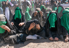 Shiite women crying during a traditional religious theatre called tazieh about imam hussein death in kerbala, Lorestan province, Khorramabad, Iran (Eric Lafforgue) Tags: 9people adults ashura battle ceremony chador clothing colorimage commemoration condolencetheater dust epic groupofpeople history horizontal hossein humaninterest hussain imamhussein iran iranian islam khorramabad martyrdom middleeast mourning muharram muslim outdoors periodcostume persia photography play religion religiouscelebration shia shiism shiite tazieh theatre unrecognizableperson veil veiled women lorestanprovince
