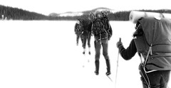 Life is a journey, Finland, April 1979 (Juha Riissanen) Tags: hike scouting scout ski winter ice lake snow forest horizon trekking backpacking skiing bw team people teamwork destination