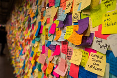 14th Street Protest (si_glogiewicz) Tags: protest post it notes 14th street station subway nyc new york city protester colour president