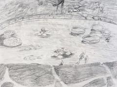 Koi pond at Duke Gardens #art #pencil #graphite #koipond #dukegardens #durhamnc #drawing #sketch (webloreArt) Tags: art pencil graphite koipond dukegardens durhamnc drawing sketch