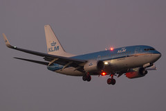 """When spotting at Schiphol this becomes a """"boring"""" plane, although the light makes things better. (rhietbrink) Tags: klm b7377k2 phbgx landing approaching approach morning schiphol amsterdam boeing b737 royal"""