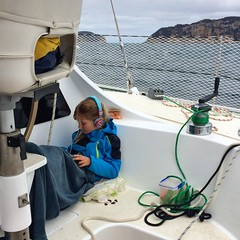 Z in her happy place, underway from Refuge Cove, Wilsons Promontory, to the Kent Island Group