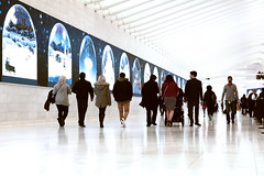"""Line up"", WTC Lower Concourse (sjnnyny) Tags: pentax pentaxsmcdaseries1650mmf28edalifsdm wtc people vistingnyc commuters pathhall lowermanhattan faceinthecrowd stevenj sjnnyny santiagocalatrava publicworks westfieldmallwtc"
