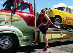 Holly_7335 (Fast an' Bulbous) Tags: girl woman sexy hot hotty seamed silk stockings dress skirt wiggle long brunette hair high heels stilettos car vehicle automobile model people outdoor santa pod dragstalgia sunglasses legs beauty babe chick pose england july summer nylons