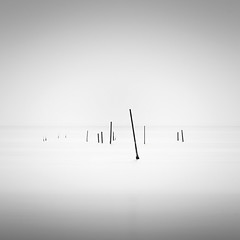 Arrangement (Vesa Pihanurmi) Tags: minimalism poles sticks fog seascape waterscape monochrome blackandwhite longexposure venice venezia lagoon italy
