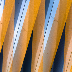 wrapped (morbs06) Tags: hpp hofgartensolingen solingen abstract architecture blue building city cladding colour detail facade light lines mesh metal orange pattern people relections shadow shoppingmall square stripes texture urban