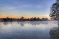 Dawn mist on the River Thames (Nick Fewings 4.5 Million Views) Tags: wildlife landscape nature colours blue orange nickfewings dawn sunrise trees mist thames river water