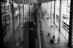 mirrored arrivals (moltofredo) Tags: bw black white sw schwarz weiss noiretblanc monochrome street streetlife streetphotography architecture architektur human urban spiegelung reflection perspektive perspective