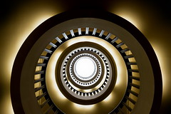 We've seen it, they shout (Maerten Prins) Tags: duitsland germany berlijn berlin stair stairs stairwell staircase circle circles railing curve curves composition symmetry symmetrical white brown black gold yellow university humboldt round upshot abstract
