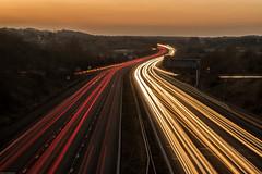 JUNCTION 11 - M27 LOOKING WEST (mark_rutley) Tags: fareham hampshire lonetree nature sunset tree longexposure lighttrails motorway m27 cars lights traffic urban