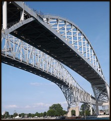 Part of Two Spans: Blue Water Bridge #2, Sarnia ON/Port Huron MI (pinehurst19475) Tags: bridge sky ontario canada architecture crossing unitedstates michigan sarnia bluewaterbridge porthuron sarniaontario porthuronmichigan