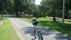 country cycling (under the skies of arkansas) Tags: road cycling country hay bales gravel flickrandroidapp:filter=none