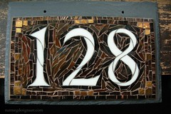 Custom Mosaic House Number 128 in Brown and Copper by Nutmeg Designs (Nutmeg Designs) Tags: newjersey numbers copper housenumber 128 addresssign houseplaque nutmegdesigns nutmegdesignshousenumber craftsmanhousenumber 3digithorizontal12x8housenumber brownhousenumber