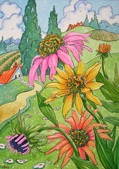 Rainbow Coneflowers Storybook Cottage Series (cottagelover1953) Tags: flowers roof red illustration vintage garden echinacea retro fairy deco storybook tale whimsical