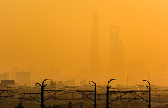 Towers (hugociss) Tags: china new 2 urban tower landscape haze cityscape afternoon shanghai metro district centre rail line area late pudong eastern financial jinmao skyscapers puxi kilometres lujiazui swfc 25km