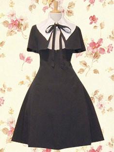 Black Satin Bow Cotton Gothic Lolita Dress