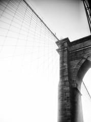 Brooklyn Bridge (cityNnature) Tags: newyork architecture icon brooklynbridge iphone underthebrooklynbridge newsprintfilter uploaded:by=flickrmobile flickriosapp:filter=newsprint
