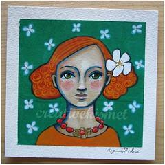 ginger (Regina Lord (creative kismet)) Tags: flowers red portrait orange green art girl painting ginger head mixedmedia