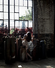 Breathing Room (sadandbeautiful (Sarah)) Tags: portrait woman selfportrait abandoned philadelphia me female self warehouse plastic philly discarded tanks urbex