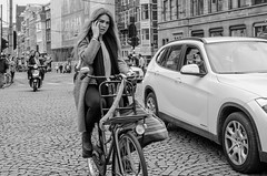 eyecontact (105mm) Tags: street portrait people woman sexy girl smile dutch amsterdam fashion portraits outfit women eyecontact pretty photographer phone boots candid streetphotography style streetlife blond fiets streetwear mensen streetfashion streetportraits streetstyle