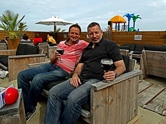 Geoff & Me (Blakenberge Beach) (Sony HX300) (markdbaynham) Tags: city bridge people urban beach beer dark belgium sony traditional brugge ale bruges superzoom bruggen blakenberge hx300