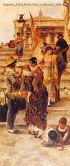 Eugenio Prati Primi fiori a Venezia 1890-1892 olio su tela 196 x 84 cm Collezione privata