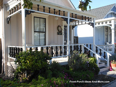 Small Appealing Front Porch (FrontPorchIdeas) Tags: porch frontporch balusters pacificgrovecalifornia porchrailings frontporchideas frontporchdesigns vision:text=0535 vision:outdoor=0864 columnbrackets sawnbalusters exteriorhousetrim sawnrailings