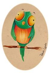 uccellino - acrilico e matite
