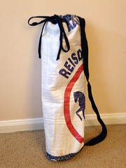 Yoga mat tote: made from horse feed bag (DIY BFLO) Tags: yoga recycled feedbag yogamat yogatote