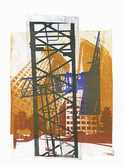Building cranes combined with modern high architecture,The Hague city nr 1. - collage art print - monotype technique by Hilly van Eerten, 2012 (fine print art in collage - from urban photography) Tags: city original urban building art texture netherlands colors dutch pits amsterdam collage architecture modern digital buildings paper print for design blackwhite high construction monoprint colorful graphic image sale contemporary unique den fine nederland structures hague cranes equipment printing montage printmaking works resolution forms colored van haag limited edition printed hilly monotype sites techniques the artprint printmaker giclee womanartist printart eerten