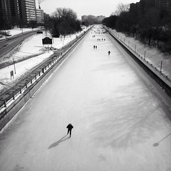 Rideau Canal Skateway (Richard Pilon) Tags: winter urban blackandwhite bw canada ice canal blackwhite skating february rideau blackandwhitephotography iphone skateway iphoneography hipstamatic