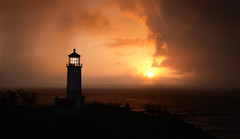 North Point at Sunset (Darrell Wyatt) Tags: sunset lighthouse clouds washington pacific ilwaco pwlandscape