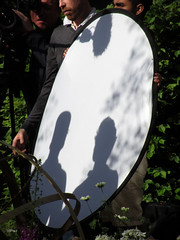 Rich Brothers interviewed (shaggy359) Tags: show white david flower london film television silhouette garden circle gardeners chelsea rich silhouettes harry filming reflector gardener rhs 2014