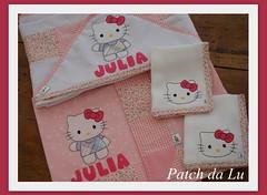 Kit bebê HELLO KIT (Patch da Lu) Tags: hello de com toalha kit boca capuz fraldinha mantabebe mantadesoft