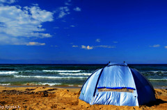 Freedom ..to be (Aivlys11) Tags: sea cloud beach tent greece crete gavdos