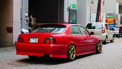 Hiroshima City, Japan (Mic V.) Tags: city red car japan sedan rouge japanese voiture hiroshima toyota prefecture saloon generation japon berline 6th chaser x100