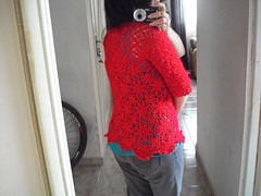 Bolero de croch - Crochet - (Eun Wa) Tags: bolero blusadel blusinha blusadecroch croch crochet vermelho feitoamo flores flower handmade