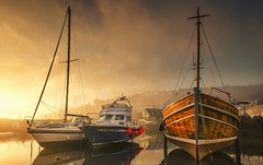 The Light Fantastic (Captain Nikon) Tags: mevagisseyharbour mevagissey cornwall cornish southcornwall southwest coastal boats sunrise mist misty sublime nikond7000 sigma1020mmf4 srb06graduatedneutraldensityfilter harbourwall cottages