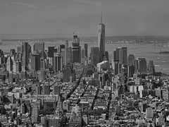 Lower Manhattan (Carol Crook) Tags: nyc newyork manhattan bandw blackandwhite monochrome cityscape city fromabove usa highrisebuildings urban