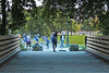 Sweap up (jkotrub) Tags: 52in2016 outside outdoors bridge color run dust clean person people girl sweap blue trail summer morning