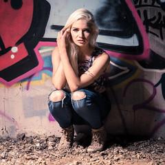 Lydia Jane (Andrew Bloomfield Photography) Tags: wwwandrewbloomfieldphotographycouk andrewbloomfieldphotography photograph model modelshoot female blonde graphic gritty graffiti urban urbanart jeans hardlight longhair