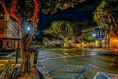 Downtown lights--DSC00073--Pacific Grove, CA (Lance & Cromwell back from a Road Trip) Tags: downtown pg pacificgrove montereypeninsula montereycounty california nightshots nightphotography sony sonyalpha a7s fe2870mm