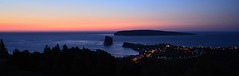 Perc , la nuit   -  Perc , by night (Philippe Haumesser Photographies) Tags: outside sky sunset coast ocean mer sea water nature lumires lights nuit night bluehour heurebleue perc rocherperc le island lebonaventure gaspsie qubec canada panorama panoramique nikond7000 nikon d7000 reflex 2016