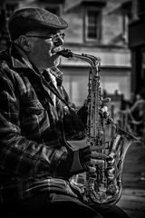 The Saxman Street Portrait. (Daz Smith) Tags: dazsmith canon6d bw blackwhite blackandwhite bath city streetphotography people candid canon portrait citylife thecity urban streets uk monochrome blancoynegro mono saxaphone music musician busker man hat performer