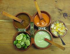 4 Salsas & Limes at Panchos Takos in Puerto Vallarta, Mexico (albatz) Tags: panchostakos puertovallarta mexico tacos salsas food