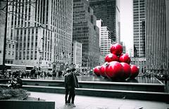 Big Balls (Dan Haug) Tags: selectivecolor manhattan aveneuoftheamericas nyc newyork christmas decorations bigapple 6thave avenueoftheamericas xf23mmf14r xt1 fujifilm december 2015