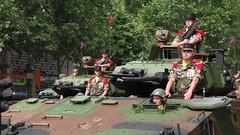 2014-07-14 10:16:47 Dazzled by the Sun, Paris (MedEighty) Tags: 2014 july ledefrance paris parade bastilleday ftenationale french celeberation march military army arme uniform weapon arme gun pistolet soldier soldat flag cobble outdoor cap vehicle armoured champslyses juillet medeighty