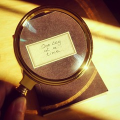 One day at a time (VeRoNiK@ GR) Tags: loupe photography magnifying glass gold lens antique old retro circle round bright journal notebook wooden table sun sunlight